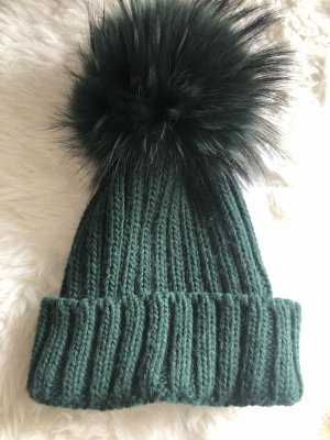 Sombrero de punto verde bosque Lana