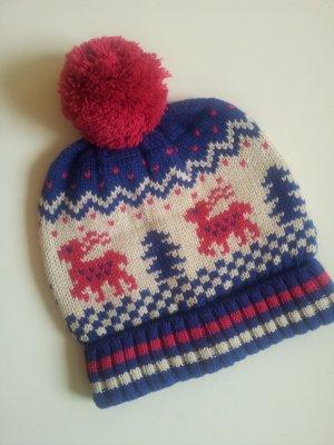 Wollmütze mit Norweger Muster neu blau pink Winter