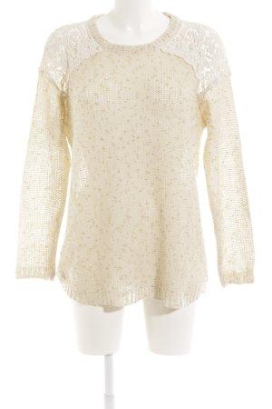 Jersey de lana crema-color oro estampado con aplicaciones look casual