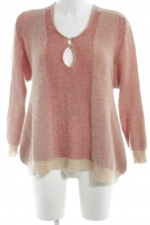 Wollpullover creme-hellrot meliert Casual-Look