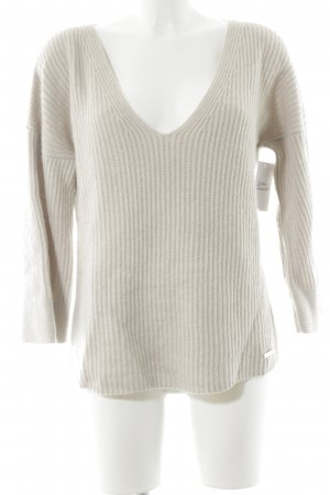 Wollpullover creme Lochstrickmuster Casual-Look