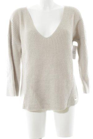 Maglione di lana crema Motivo a maglia leggera stile casual