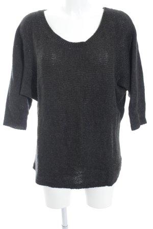 Wollpullover dunkelgrau-creme Webmuster schlichter Stil
