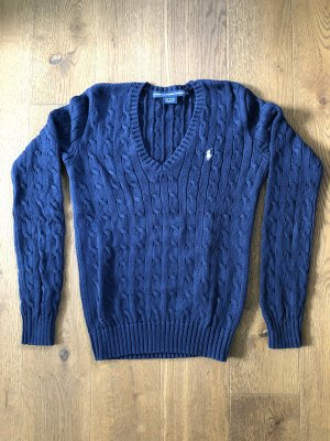 Ralph Lauren Sport Pull torsadé bleu foncé-blanc