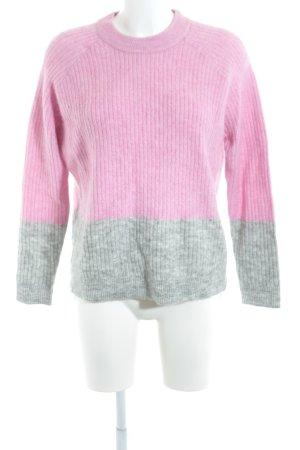 Wollpullover hellgrau-pink Lochstrickmuster Casual-Look