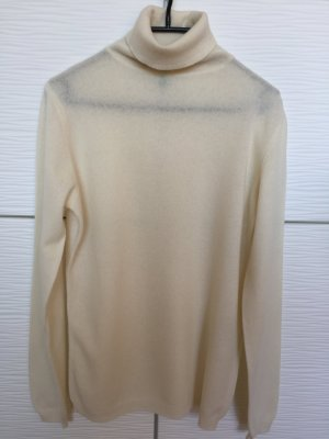 Benetton Turtleneck Sweater natural white-cream wool