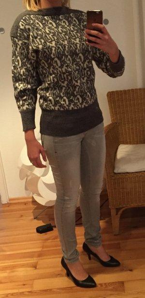 Pull norvégien gris foncé-blanc