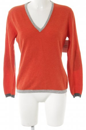 Wollpullover orange-hellgrau Casual-Look