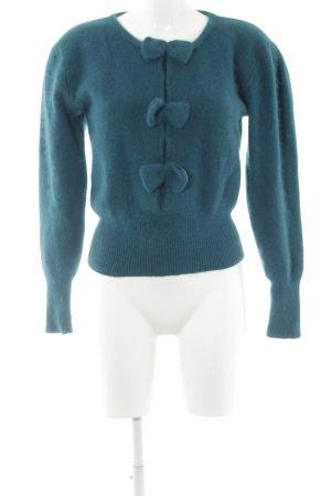 Pull en laine bleu pétrole style romantique