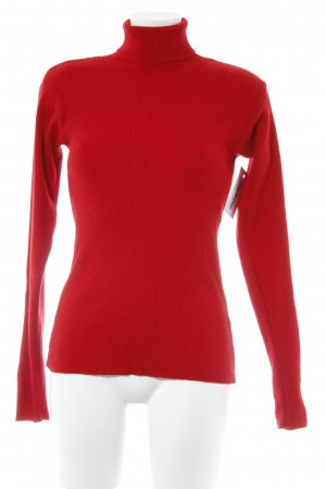 Jersey de lana rojo look casual