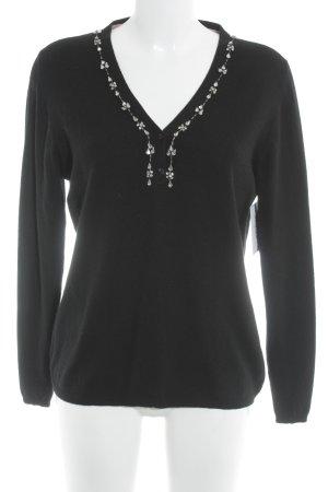 Wollpullover schwarz-silberfarben Casual-Look