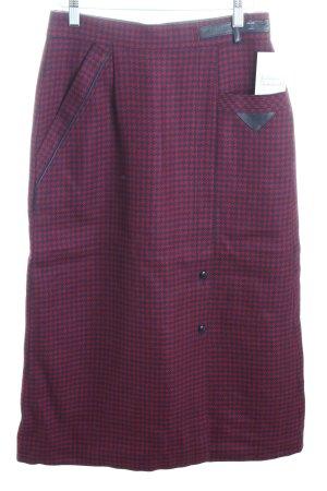 Gonna di lana rosso scuro-blu scuro Stampa suggestiva look vintage
