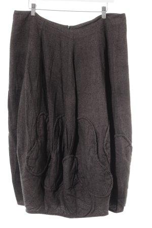 Wollen rok grijs-bruin-zwart gestreept patroon casual uitstraling