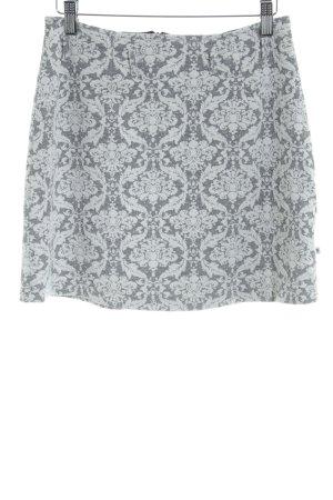 Gonna di lana beige chiaro-grigio motivo floreale stile casual