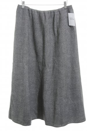 Wool Skirt black-light grey weave pattern classic style