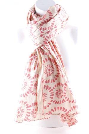 Bufanda de lana crema-rosa estampado floral look casual