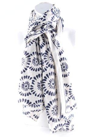 Bufanda de lana crema-azul acero estampado floral look casual