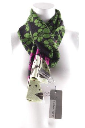 Wollschal grasgrün-schwarz florales Muster
