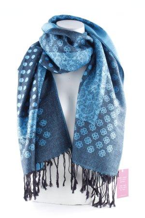 Écharpe en laine bleu fluo-noir motif de fleur style mouillé