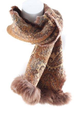Woolen Scarf paisley pattern Fur Trim