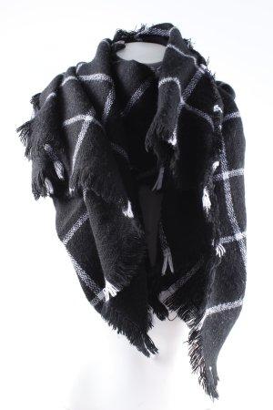 Wollschal schwarz-wollweiß Karomuster Kuschel-Optik
