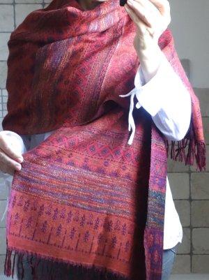 Wollschal Stola, kaminrot, Muster, zum Wenden, Rückseite eher weinrot Töne
