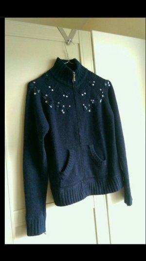 Vintage Wollen Jack zilver-donkerblauw