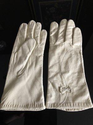 Wollweiss Handschuhe Gr.7 Leder Gefüttert