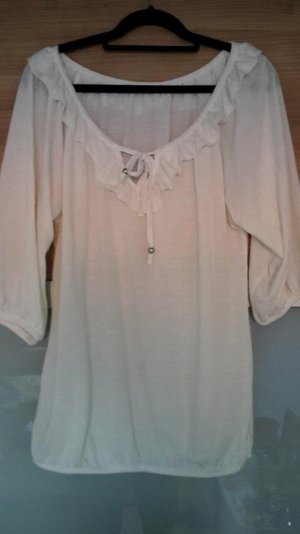 Ruffled Blouse natural white cotton