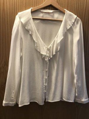 Zara Trafaluc Blusa de manga larga blanco puro