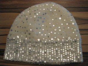 Wollweiße Winter Mütze mit Pailletten