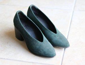 Women's Green Chunky Heel Court Shoes