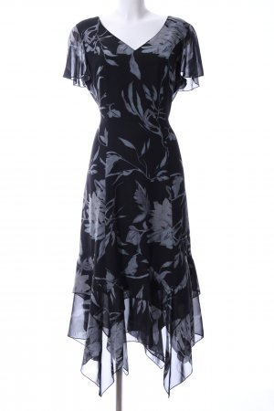 Women's Selection Kurzarmkleid schwarz-hellgrau Blumenmuster Elegant