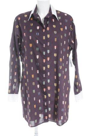 Wood Wood Hemdblusenkleid dunkelviolett-weiß Motivdruck Country-Look