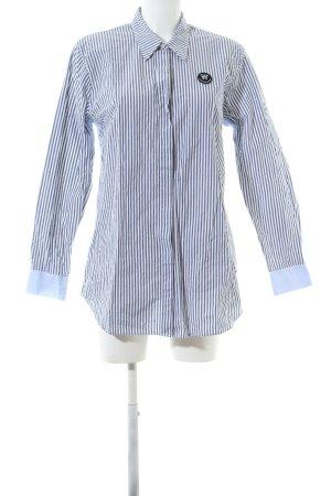 Wood Wood Langarmhemd blau-weiß Streifenmuster Casual-Look