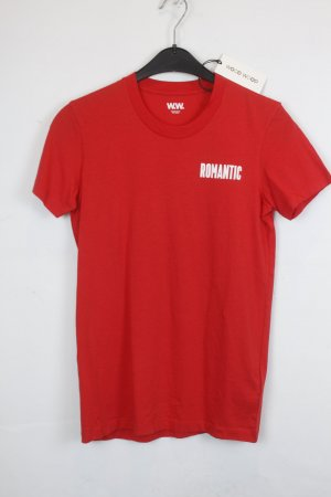 Wood Wood Camiseta estampada rojo-blanco Algodón