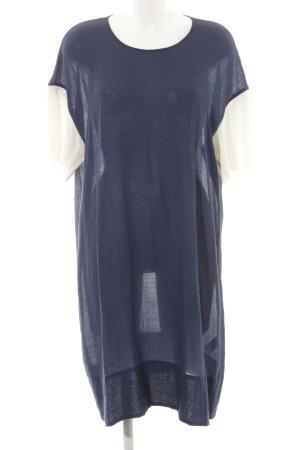 Wood Wood Shirtkleid blau-wollweiß Schriftzug gedruckt Casual-Look