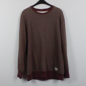 WOOD WOOD Sweatshirt Gr. M weinrot grau gestreift oversized (18/11/153)