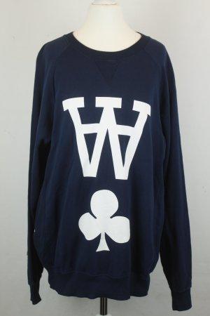 WOOD WOOD Sweatshirt Pullover Gr.M dunkelblau Logoprint Pik