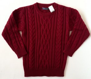 WoolOvers Damen Strickpullover Rundhals Langarm Pullover Wolle Aran Muster