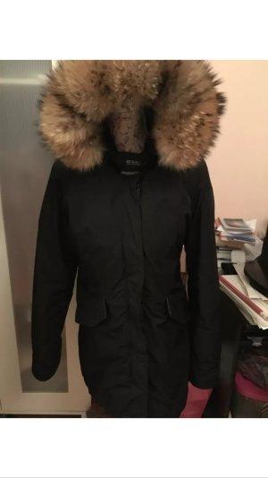 Woolrich Arctic Parka Jacke schwarz echtfell Pelz gebraucht 34 XS
