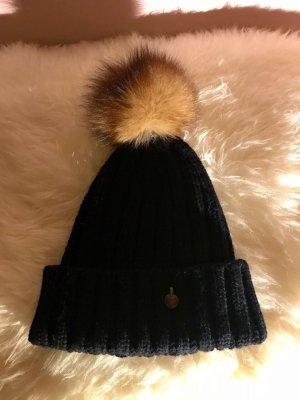 Woolrich Fur Hat dark blue-camel