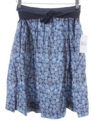 Woolrich High Waist Rock blau-weiß florales Muster Romantik-Look