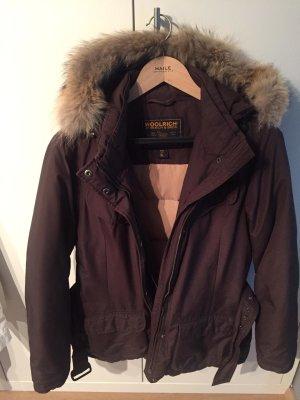 Woolrich Veste d'hiver brun foncé-brun tissu mixte
