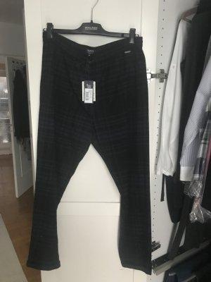 Woolrich Pantalon en laine bleu foncé-noir laine