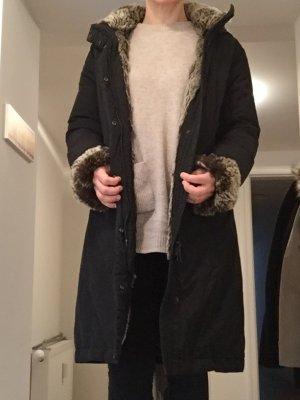 Woolrich strickjacke mit fellkapuze
