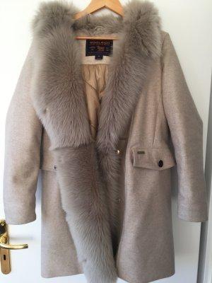 Woolrich Winter Jacket camel-natural white alpaca wool