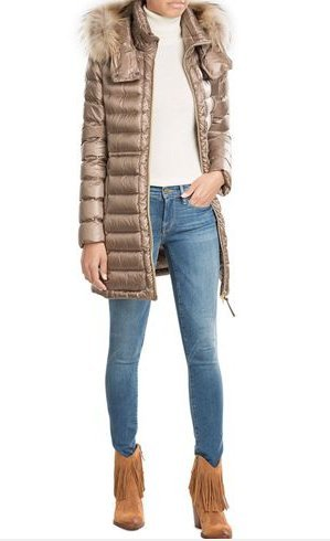 Woolrich Quilted Coat oatmeal-beige fur