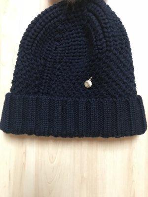 Woolrich Mütze, blau, Fell