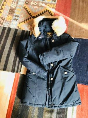 Woolrich Cappotto con cappuccio blu scuro Cotone